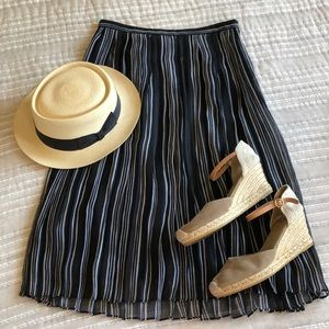 Banana Republic Pleated Striped Midi Skirt